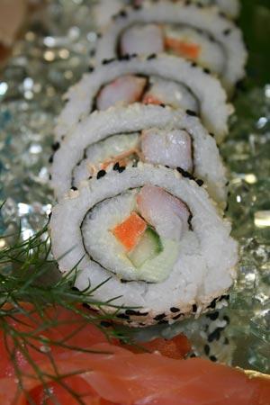 Maki Sushi mit Flusskrebsen